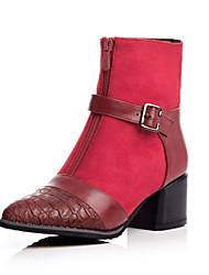 Zapatos de mujer Piel Sintética Tacón Robusto Botas Anfibias Botas Casual Negro/Rojo