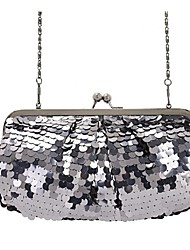Women 's Polyester Flap Shoulder Bag - Silver/Black