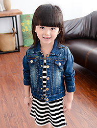 Girl's Simple Slim Denim Coat