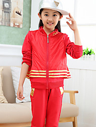 Girl's orean Fashion Sports Uniforms Striped Gold Piece Clothing Set , Winter/Fall