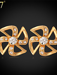 U7® Women's Windmill Earrings Clear Rhinestone Crystal Fashion Jewelry for Women Platinum/Gold Plated Stud Earrings