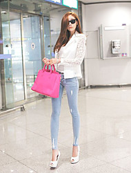 Women's Solid White/Black Blazer , Casual Long Sleeve Lace