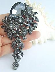 Wedding 4.13 Inch Vintage Gray Rhinestone Crystal Flower Brooch Art Deco Brooch Bouquet Women Jewelry