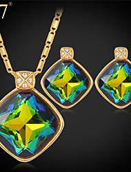 U7® Women's Fancy Stone Fashion Stud Earrings 18K Gold Plated Clear Rhinestone Multicolor Crystal Necklace Jewelry Set