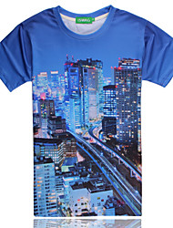 2015 Men's Summer High Quality Creative Fashion Personality Leisure Space Cotton Cute 3D T-Shirt —— Night View
