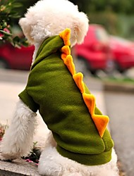 Cat / Dog Costume / Hoodie / Outfits Green Dog Clothes Winter Cartoon / Animal Wedding / Cosplay / Halloween