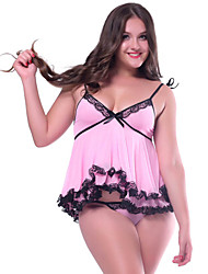 Fashion Summer Women's Sexy Chemise Pink Color Soft Material Sexy Underwear with Lace Decorate Babydoll Plus Size