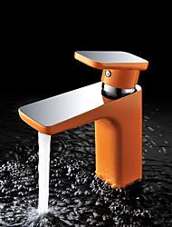 metade cromo contemporâneo&laranja metade pintura cor bronze alça banheiro lavatório torneira da pia único quente e fria