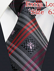 "UXL28 Shlax&Wing Necktie Grey Mens Ties Red Plaids Classic Silk 66"" Extra Long Size"