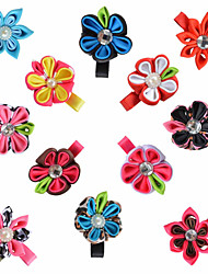 12 Pcs Hair Bows Kanzashi Grosgrain Ribbon Flower Mix Color Boutique Hair Clips Hairbows Accessories Headwear AC015