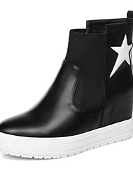 Women's Shoes Leather Flat Heel Creepers/Combat Boots Boots Outdoor/Casual Black/White