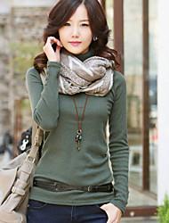 De las mujeres Camiseta Escote Chino - Algodón - Manga Larga