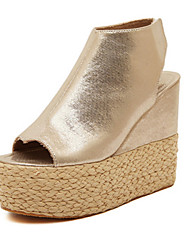 Women's Shoes  Wedge Heel Peep Toe Sandals Casual White/Gold