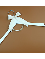White Wood Wedding Dress Hanger with Ivory Bow and Pearls