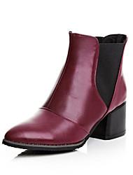 Zapatos de mujer Cuero Tacón Robusto Botines/Puntiagudos/Botas de Equitación Botas Casual Negro/Rojo
