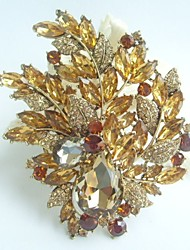 Gorgeous 4.33 Inch Gold-tone Topaz Rhinestone Crystal Flower Brooch Art Deco Brooch Bouquet