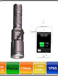 XIESHENG 1600 Lumens USB LED Torches with Power Bank Function Adjustable Focus/Waterproof/Rechargeable/Impact Resistant