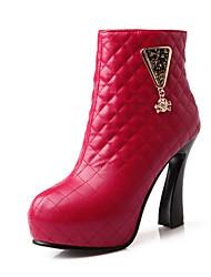 Zapatos de mujer Semicuero Tacón Stiletto Comfort/Botas a la Moda Botas Boda/Exterior/Oficina y Trabajo/Vestido/Casual Negro/Rojo/Blanco