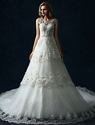 A-line Wedding Dress - White Cathedral Train Scoop Tulle