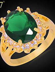 U7® Women's 18K Gold Plated Ring for Women Jewelry Gift Clear Rhinestone Oval Emerald Cubic Zirconia Engagement Ring