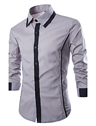 Chemises informelles ( Coton ) Informel Col ovale/Col chemise à Manches longues