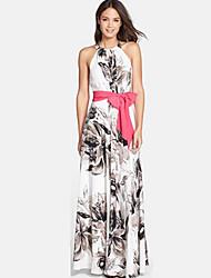 Women's Halter Ruched Plus Size Dress , Cotton Blends Maxi Sleeveless