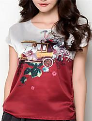 Mulheres Blusa Decote Redondo Manga Curta Seda Mulheres