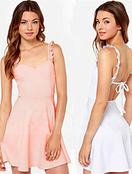 Women's Straps Backless Dresses , Cotton Blend/Others Sexy/Casual Sleeveless YaYiGe