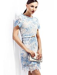2015 Summer New Women Printing Slim Dress Irregular Collar Female Dress Ladies Fashion Dresses ZNZ719