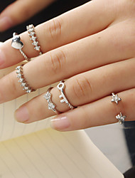 Women Fashion Zircon Star Bow Heart Key Pattern Ring Set