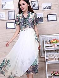 Vestidos ( Algodón )- Casual Soporte Manga Corta para Mujer