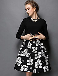 Autumn Winter Women Europe Elegant Vintage Print Dress+Long Sleeve Blouse Two Piece Set Party/Casual/Work Dress