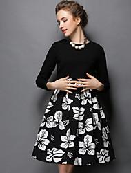 Robe Aux femmes Grandes Tailles Grandes Tailles / Vintage / Soirée / Travail / Décontracté , Imprimé / Mosaïque Col Arrondi Mi-longCoton