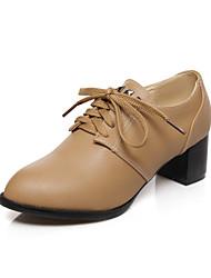 Chaussures Femme - Extérieure / Bureau & Travail / Décontracté - Noir / Beige / Amande - Gros Talon - Talons / Bout Pointu - Talons -