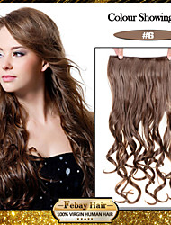 5 Clips Wavy Light Brown (#6) Synthetic Hair Clip In Hair Extensions For Ladies more colors available