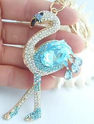 Flamingo Key Chain w Blue & Clear Rhinestone crystals