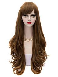 estilo europeu longo mergulhado ondulado peruca estrondo lado marrom profundo&flaxen destaca peruca voga para as mulheres