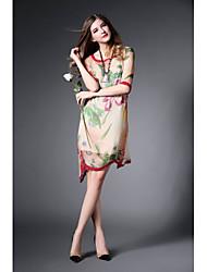2015 Summer New Women European and American Fashion Elegant Mulberry Silk Printing Dress Irregular Dress HNZ0805