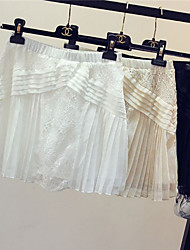 Women's Solid White/Black/Beige Skirts , Casual/Lace Above Knee Lace/Ruffle