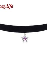 "Cozylife 3/8"" Womens Girls Black Velvet Gothic Collar Vintage Choker Necklace S925 Sterling Sliver CZ Diamond Pendant"