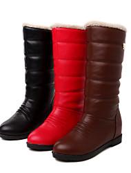 Zapatos de mujer - Tacón Plano - Botas de Nieve / Punta Redonda - Botas - Vestido - Semicuero - Negro / Marrón / Rojo
