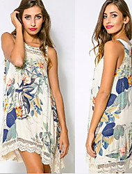 Women's Round Dresses , Cotton Blend Beach/Casual/Print Sleeveless summer