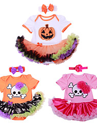 BHL Infant Baby Girl's Hallowmas Gift Climb Romper Clothes Dress Skull and Pumpkin Pattern Baby Bodysuit for 0~1 Y Girl