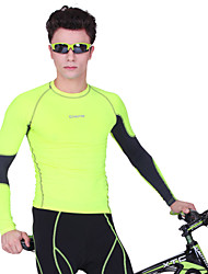 OUTTO Men's Long Sleeve Neon Yellow Breathable Compression Gym Fitness Running Cycling Top