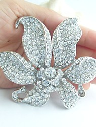 Gorgeous 3.74 Inch Silver-tone Clear Rhinestone Crystal Orchid Flower Brooch Pendant