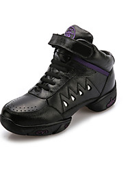 Modern Women's Dance Shoes Sneakers Breathabl leather Low Heel Black