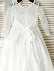 A-line Floor-length Flower Girl Dress - Lace / Satin Long Sleeve Jewel with