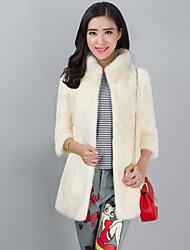 VOAE® Women's Fashion Standing Genuine/Real Natural Rabbit Fur Coat/Jacket