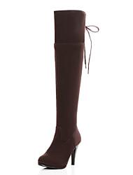 Calçados Femininos Camursa Sintética Salto Agulha Modelos/Bico Fechado Botas Ar-Livre/Social/Casual Preto/Marrom/Khaki