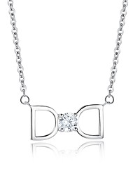 Fine Jewelry Cute/Party/Work/Casual Sterling Silver Pendant Necklace Women Cz Statement Necklace